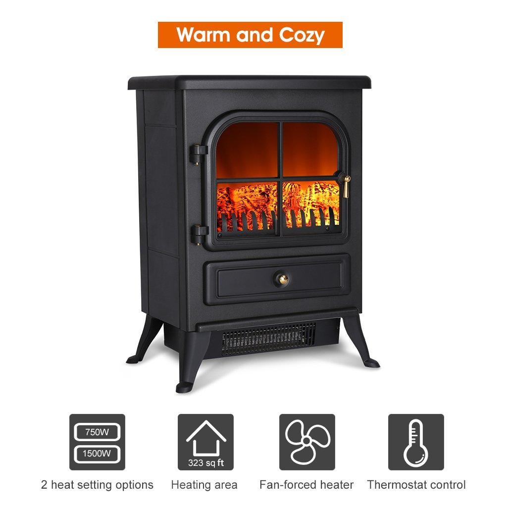 Finether B01lz1zlbp Black 1500w Freestanding Portable Electric Fireplace Stove Heater With Openable Door Realistic Flame And Logs